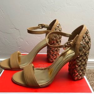 Coach Brown Leather Weave 7.5 with 3.5 Heels.